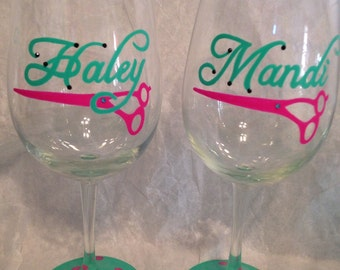 Hand Painted Hair Stylist Wine Glass