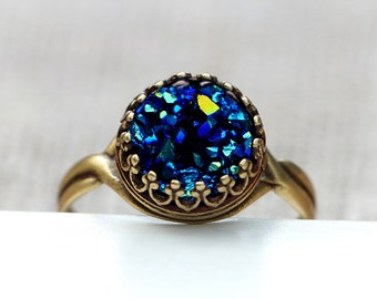 Crown ring with deep blue faux Druzy