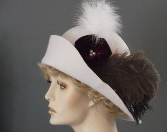 Miss Fishers vintage style white felt hat, 1920's, 1930's cloche, Downton Abbey, ostrich feathers, handmade velvet flower, formal hat, tea