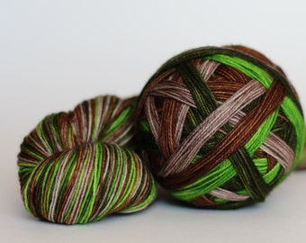"Dyed to Order: ""Wee Wander (Self-striping)"" - Beige, Apple Green, Wood Brown, Dark Hunter Green stripes"
