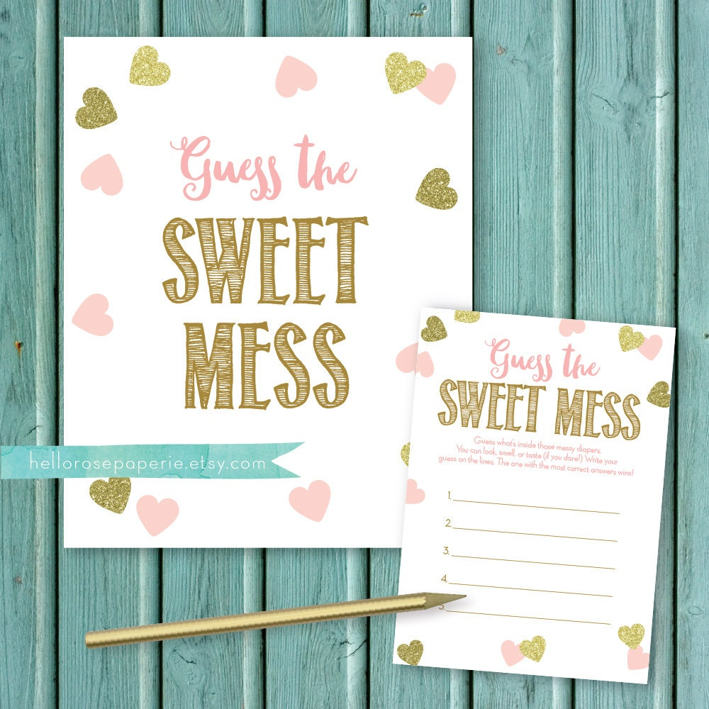 pink and gold baby shower game guess the sweet mess candy