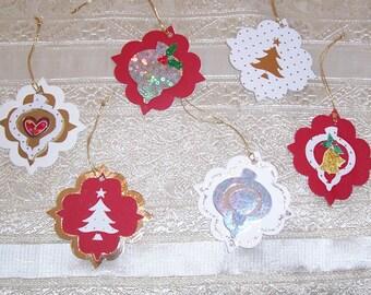 Assorted Handmade Christmas Gift Tags,  24 Christmas Gift Tags, Free Shipping in USA