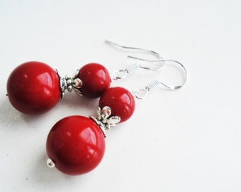 Sterling Silver Bright Red Earrings, Red Statement Jewelry, Red Bridesmaid Earrings, Bright Red Jewelry, Red Glass Earrings Gift For Woman