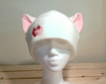 White Cat Hat - Cat Ears Hat - Cat Ears - Hearts - Heart Cat - Fleece Hat - snowboarding ski - Winter Hat -Valentine Gift - White Cat Hat