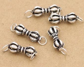 4 Sterling Silver Dorje Connector Charms, Double Dorje Charm, Tibetan Dorje Pendant, Buddhist Vajra, Silver Charm, 925 Sterling Silver Charm