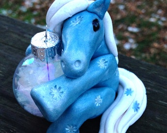 "KushlansCreations ""Blizzard"" Standard handmade polymer clay Christmas Horse Ornament"
