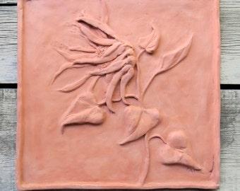 Ceramic ~Ceramic Sculpture ~Tile ~12 x 12 Tile ~Sunflower tile in Terracotta ~Home Decor ~Ceramic wall art ~Handmade Tile ~natural clay tile