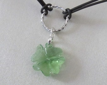 Lucky Girl Four Leaf Clover Choker Pendant-Peridot Crystal-Free Shipping