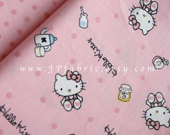 Kitty fabric. Pink Cotton Fabric by the yard. 160x100cm