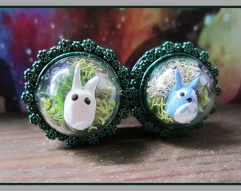 "My Neighbor Totoro Terrarium EAR PLUGS earrings pick gauges - 7/16"", 1/2"", 9/16"", 5/8"", 11/16"", 13/16"" aka 12mm, 14mm, 16mm, 18mm, 20mm"