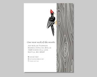 Woodpecker Change of Address - Moving card - Printable - Woodgrain - Custom