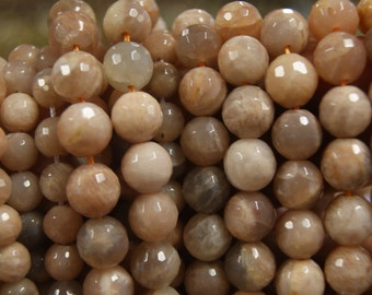 Natural sunstone 7.5mm 10mm 12mm 14mm faceted round gemstone beads -15 inch strand