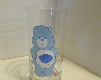 Vintage Grumpy Bear Care Bears Glass Pizza Hut 1983