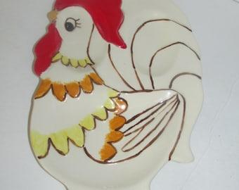 Vintage ceramic rooster chicken spoon rest / kitchen Decor