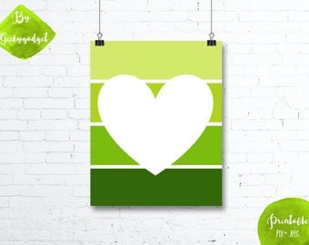 White heart and green paint chip - Nursery poster - Pdf printable, DIY, wall art, inspirational decoration, motivational