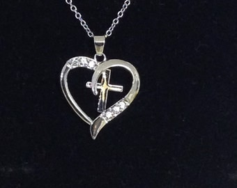Cross in Heart Necklace , Silver plated , Women , Teens , Girls , Chain , Gift , Family , Friend