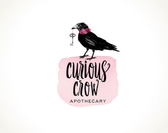 Logo Design Branding Package Premade Graphics Custom Text Black Crow Key Pink Watercolour