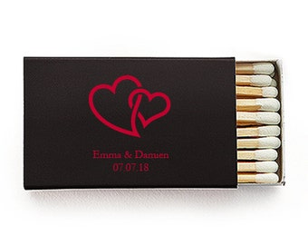 Set of 50 Interlocking Hearts Wedding Matchboxes - Custom Wedding Matchbox - Personalized Wedding Matches - Wooden Matches - Wedding Favors