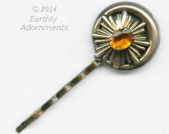 Repurposed brass earring with topaz glass surrounded with celestial brass design hair pin. (ach0131)