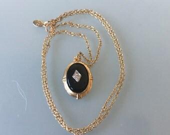 Antique Art Deco Black Onyx Necklace