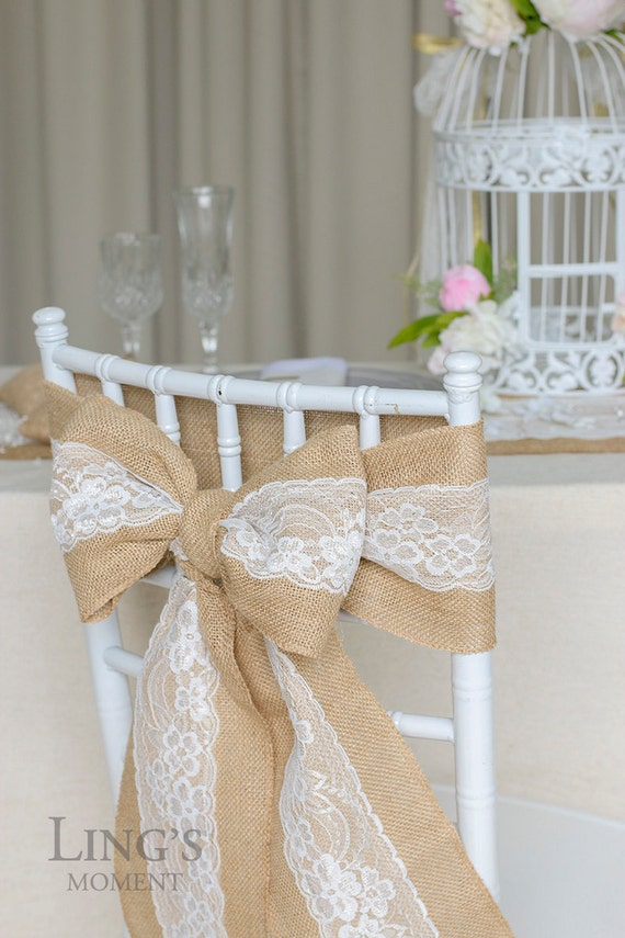 Burlap Chair Sash With Lace 6x94 Stitched Edge
