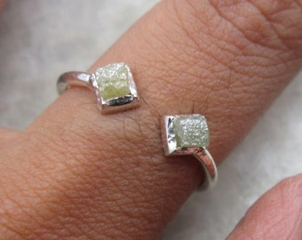 Eccentric Natural Cube Raw Rough Diamond Ring in 925 Sterling Silve Propose Ring