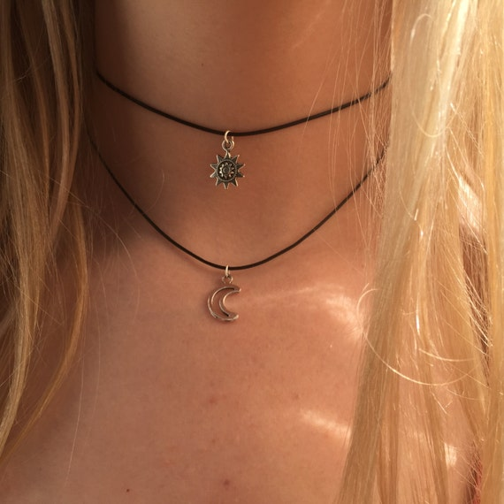 Choker Necklace Etsy: Double Choker Necklace Silver Sun And Moon Charms 90s Layered
