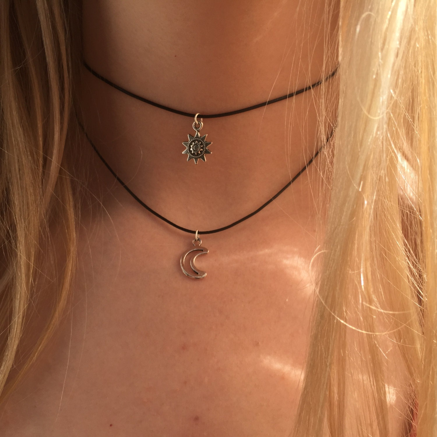 Double choker necklace silver sun and moon charms 90s Layered
