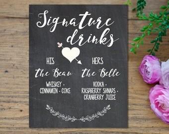 Signature Drink Sign, Chalkboard Sign, Wedding Drink Sign, Wedding Printable