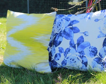 Set of Two Lime yellow and Blue  Printed Cushion Covers...!!!