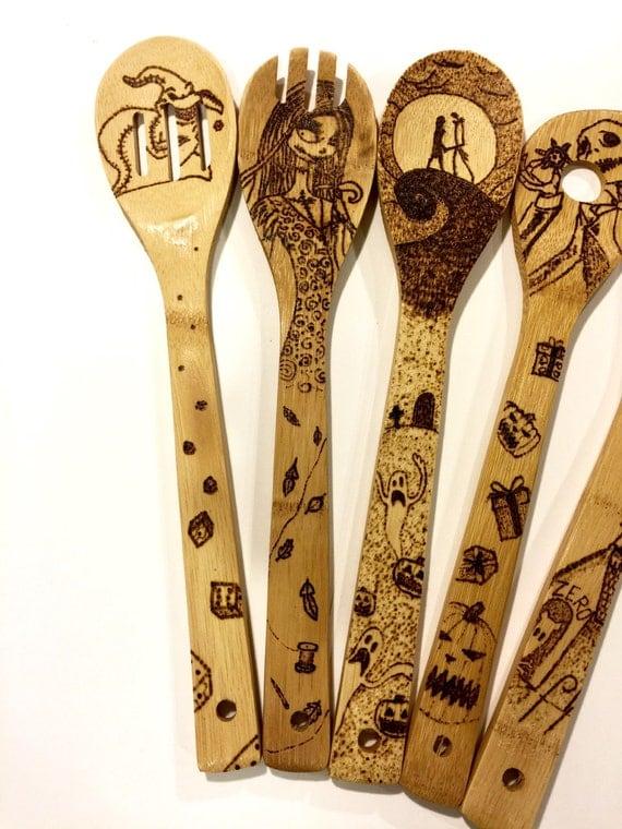Nightmare Before Christmas Woodburned spoons. Custom
