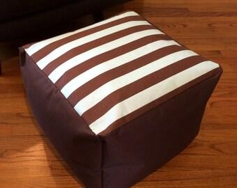 Ottoman Pouf Cover - Blue & Brown Stripe with Brown Base