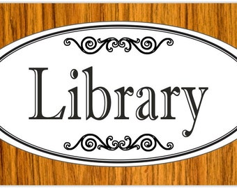"3.75"" x 7.75"" Engraved ""Library"" Plastic Door / Wall Sign - FREE SHIPPING"