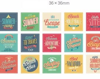 Sticker set summer summer 45 piece (A949) 4x4cm