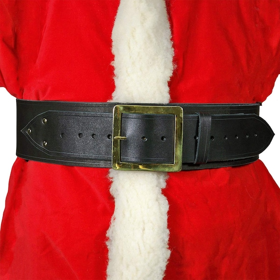 santa claus leather belt with square buckle