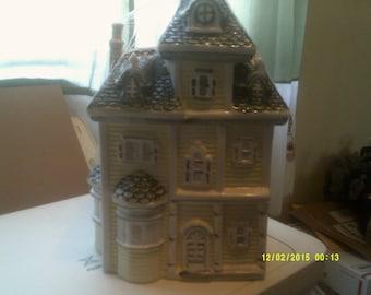 Victorian House Cookie Jar w/ Mansard Roof
