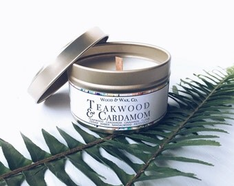 TEAKWOOD & CARDAMOM Soy Candle   Candle Tin   Travel Candle