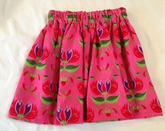 Baby cord skirt, Age 5-6, pink flowers.