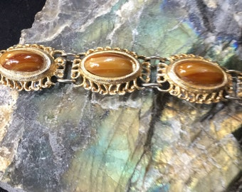 Sterling silver with gold wash bracelet cat's-eye