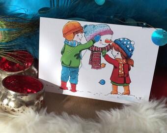 Build a Snowman Christmas Card