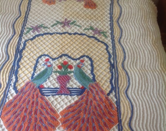 Double Peacock Chenille Bedspread Vintage