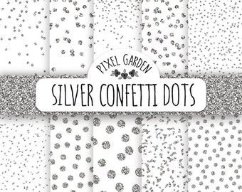 Silver Confetti Digital Paper. Silver Glitter Confetti Digital Paper. Silver Polka Dot Scrapbook Background. Grey Metallic Confetti Patterns