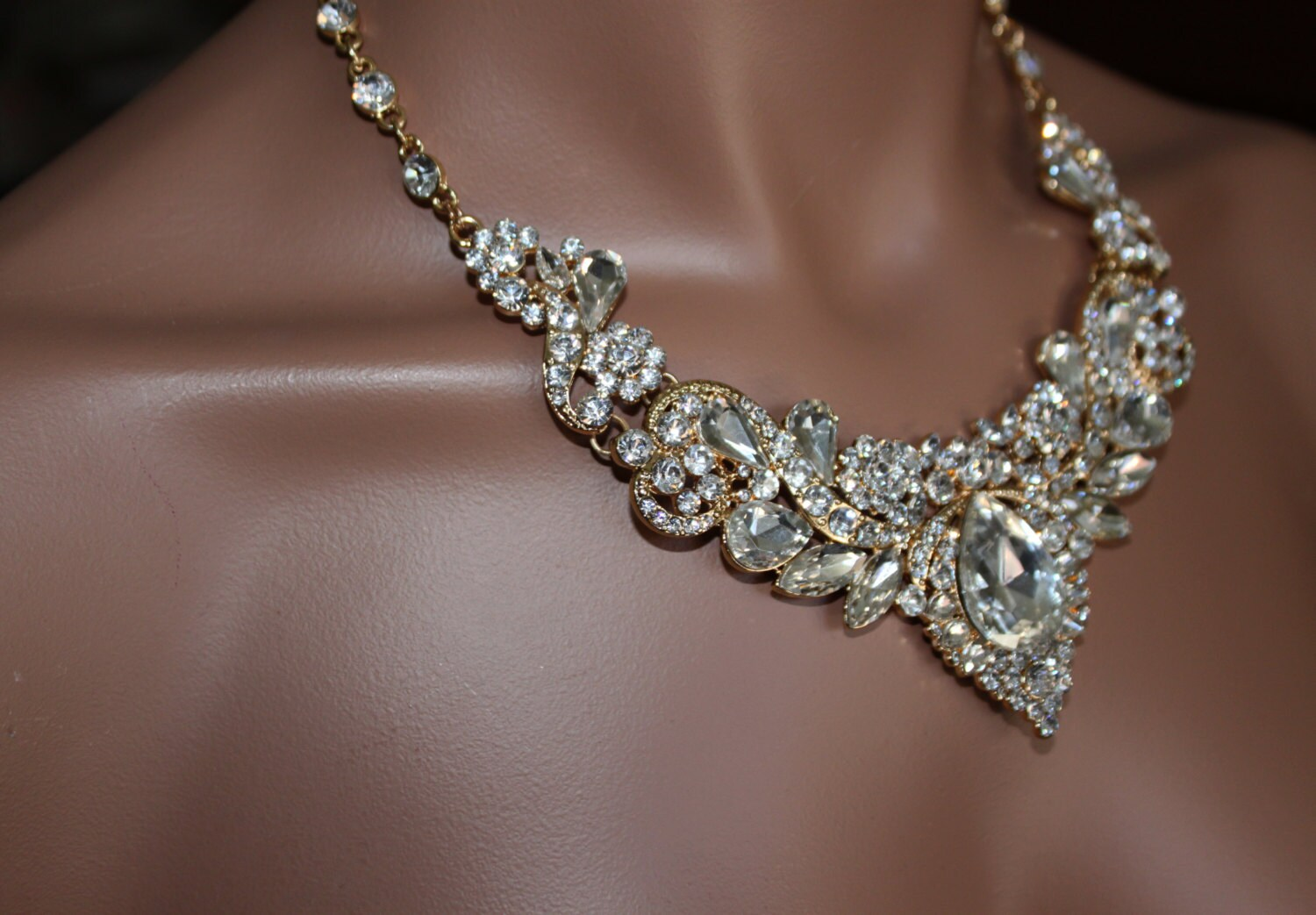 Gold Bridal Jewelry Set Crystal Deco Nouveau Style Necklace