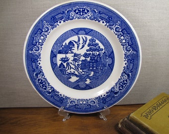 "Vintage Dinner Plate - ""Blue Willow"" - Blue and White"