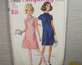 Vintage Sewing Pattern - Simplicity #7986 - Size 12 - Dress
