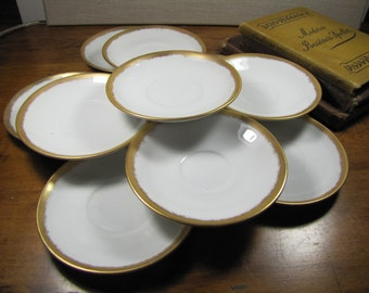 E. Hume Small Saucer - Gold Accent - Set of Ten (10)