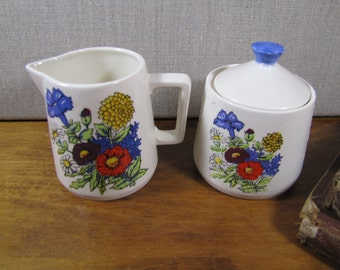 Vintage Ceramic Sugar Dish and Creamer - Garden Flowers - E-3939