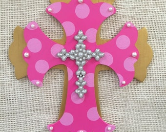 Pink and gold nursey decor - baby shower gift - baby girl gift - baby room decor - hand painted cross