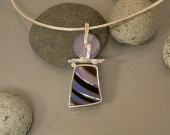 Chalcedony, Sapphire and 'Chihuly' Glass Pendant
