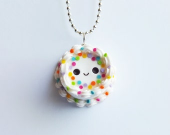 Happy Little Confetti Cake Necklace Miniature Food Jewelry Polymer Clay Sprinkles